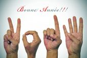 sentence bonne annee, happy new year written in french, and hands forming number 2014