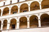 Courtyard Castle Arcades Pieskowa Skala , Medieval Building Near Krakow, Poland