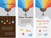 foto of menorah  - set of three cards with hanukkah infographics - JPG