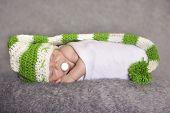 Sleepy Baby In Elf Hat