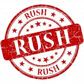 Rush Grunge Red Round Stamp