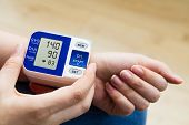 High Blood Pressure. Woman Measures The Pressure