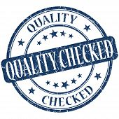 Quality Checked Grunge Blue Round Stamp