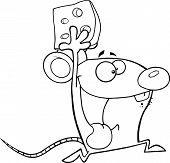 Black and White Happy Mouse Cartoon Character Running With Cheese
