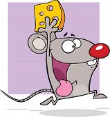 Gray Mouse Cartoon Mascot Character Running With Cheese