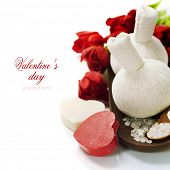 Bath and spa Valentine theme with thai herbal compress stamps,  bath salt, soaps and tulips (with easy removable text)