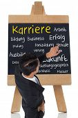 Composite image of asian businessman pointing a chalkboard with german terms about career