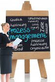 Composite image of blonde businesswoman holding new tablet in front of board with management terms w
