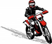 image of dirt-bike  - a vector image man on a dirt bike - JPG