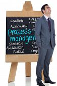 Composite image of smiling businessman standing before a chalkboard with management terms written on