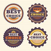 Best choice retro labels. Vector illustration.