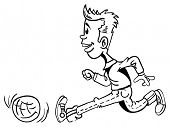 black and white cartoon illustration of little boy running with football
