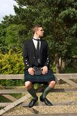 Scotsman In Full Dress Kilt Wear