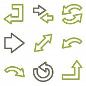 Arrows icons, green line contour series