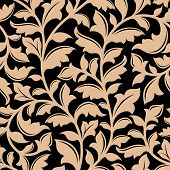 image of adornment  - Floral seamless pattern with flourish elements in retro style - JPG
