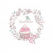 sweet bakery theme with cupcake and wreath