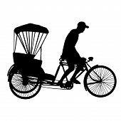 Three Wheel Bicycle Taxi Silhouette Vector.eps
