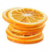 Dried orange slices isolated on white background