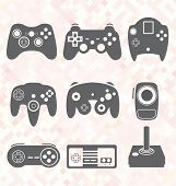 picture of controller  - Collection of retro style video game controller silhouettes - JPG