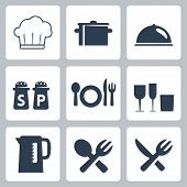 Vector Isolated Tableware Icons Set