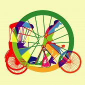 Colourful Bicycle Taxi Silhouette Vector.eps