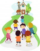 stock photo of church  - Illustration of Kids Heading Towards the Direction of a Church - JPG