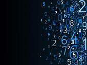 foto of numbers counting  - Vector blue background from different numbers typography from right - JPG