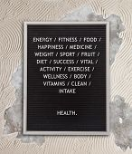 Health Concept In Plastic Letters On Very Old Menu Board