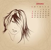 Artistic Vintage Calendar For January 2014.