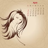 Artistic Vintage Calendar For April 2014.