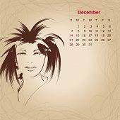 Artistic Vintage Calendar For December 2014.