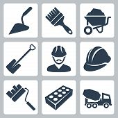 stock photo of labourer  - Vector isolated construction icons set over white - JPG