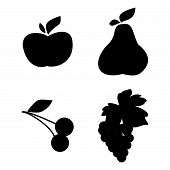 Set Of Vector Fruit Silhouette