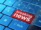 News concept: Breaking News on computer keyboard background