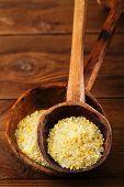 citron lemon salt in rustic  wooden spoons