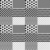 Black and white geometric patterned squares seamless pattern, vector