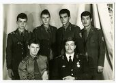 BORISOGLEBSK, USSR - 1987: Group portrait of soldiers and officers of the Soviet Army, Borisoglebsk, Russia, USSR, 1987
