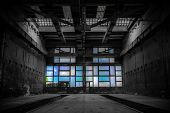stock photo of abandoned house  - old abandon industrial construction interior polishing workshop - JPG