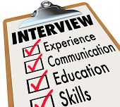 stock photo of interview  - Interview Checklist Job Candidate Qualifications - JPG