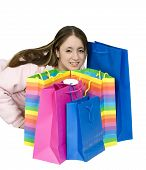 Happy Teen With Her Shopping Bags poster