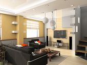 modern living room interior. contemporary concept