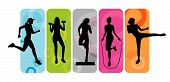 foto of jump rope  - Stay fit silhouettes on an abstract background - JPG