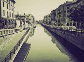 Vintage Sepia Naviglio Grande, Milan
