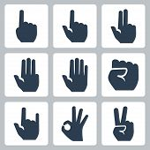 Vector Hands Icons Set: Finger Counting, Stop Gesture, Fist, Devil Horns Gesture, Okay Gesture, V Si