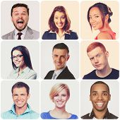 People faces collage. Diverse men and women isolated.