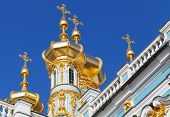 Golden Domes Of The Orthodox Church. The Catherine Palace, Tsarskoye Selo, St.petersburg