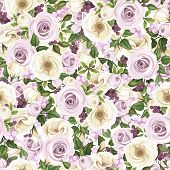 Seamless background with roses, lisianthus flowers, berries and leaves. Vector illustration.