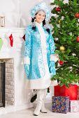 Snow Maiden In Blue Coat