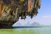Huge limestone cliffs in the Pang Nga bay with view on the islands, Thailand