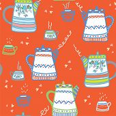 Tea seamless pattern with cups and pots